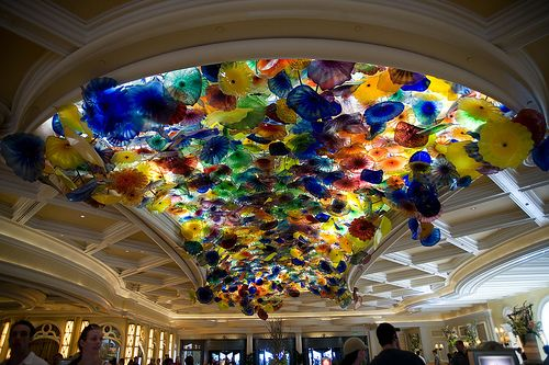 Famous Hand Blown Glass Flower Ceiling In Bellagio Lobby Las