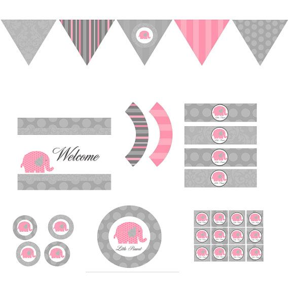 Pink Elephant Full Party Decor Diy S Printable Birthday Baby Shower Decorations Gray Vintage Damask