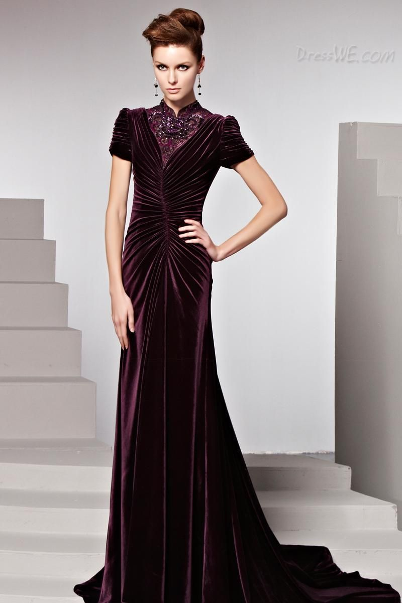 Amazing chinese ruched high neck short sleeves eveningformal dress