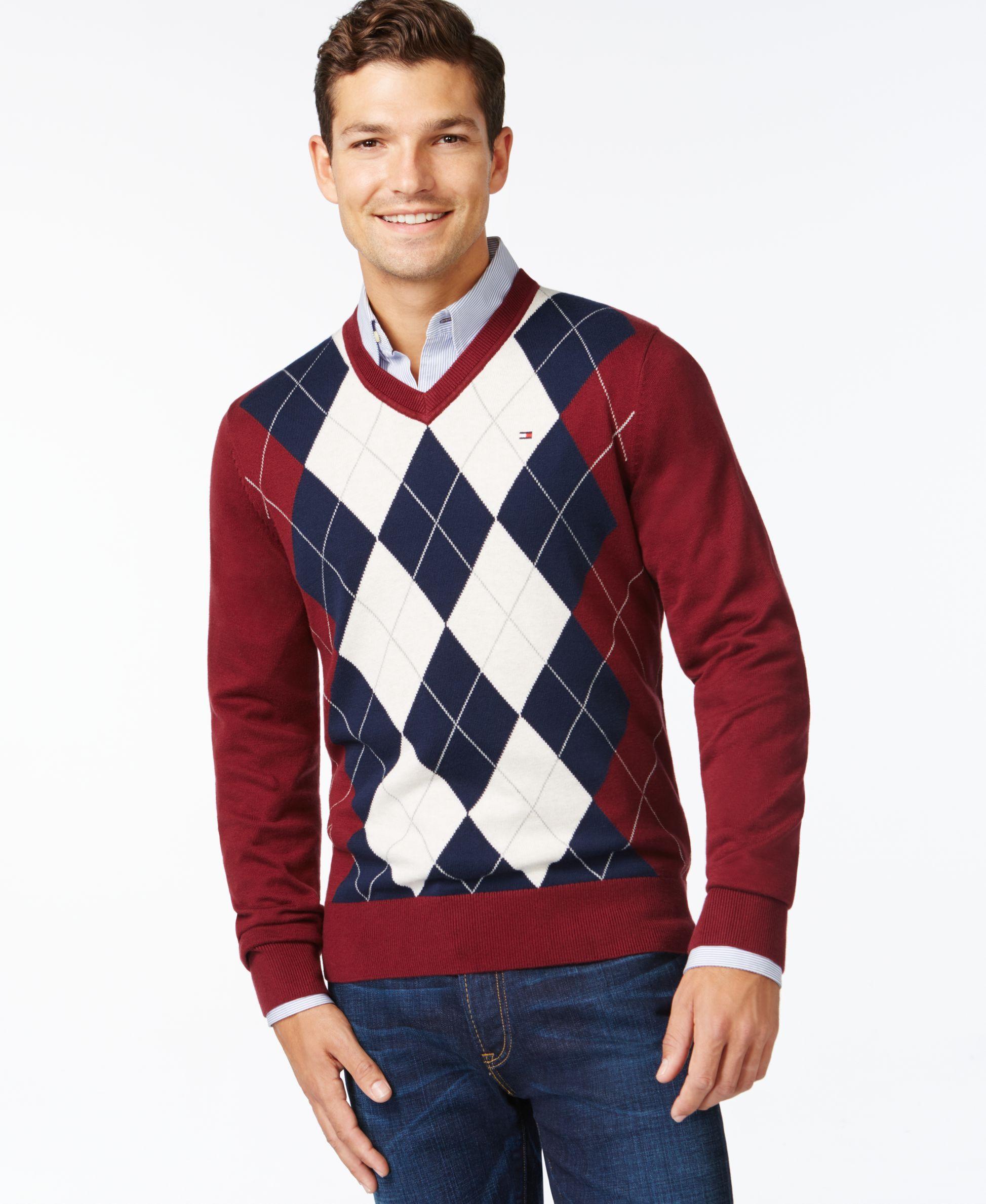 Tommy Hilfiger Signature Argyle V-Neck Sweater | Products ...