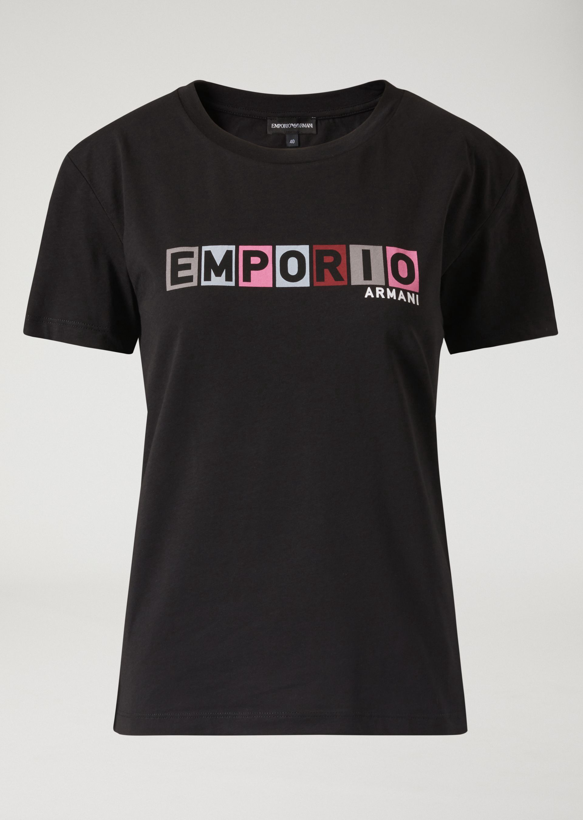 9d7185251 Emporio Armani T-Shirt In Jersey With Stencil-Effect Colour Logo - Navy  Blue 10