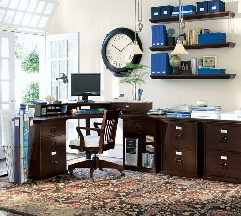Bedford Corner Desk Set Pottery Barn Dark Wood Desk Home Office Setup Corner Desk