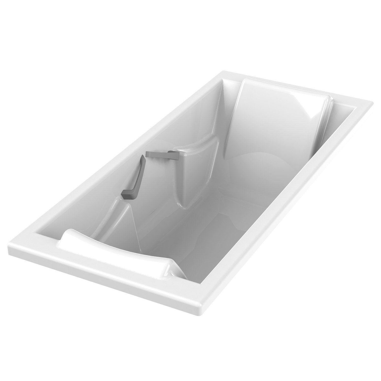 Baignoire Rectangulaire L 180x L 80 Cm Blanc Sensea Premium Confort Leroy Merlin Baignoire Rectangulaire Baignoire Blanc