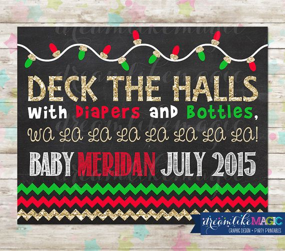 Christmas Chalkboard Pregnancy Announcement By DreamlikeMagic Printable Babyreveal