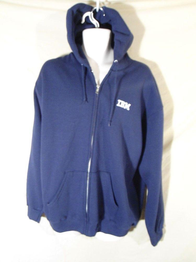 Vintage Men S Ibm Computer Logo Lee Hoodie Jacket Zip Up Lightweight Navy Blue L Vintage Men Hoodie Jacket Jackets