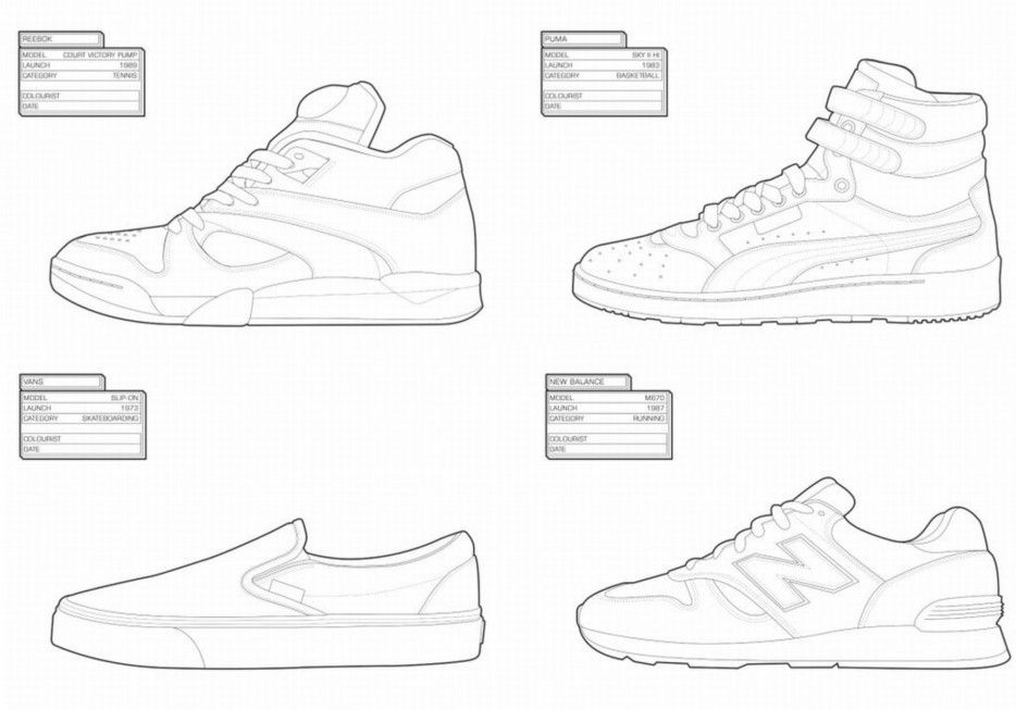 The Sneaker Coloring Book Shoe Design Sketches Coloring Books Kids Shoes