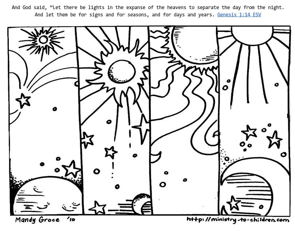 Genesis 1 14 Coloring Sheets God Made Day Night Creation Coloring Pages Bible Coloring Pages Coloring Pages