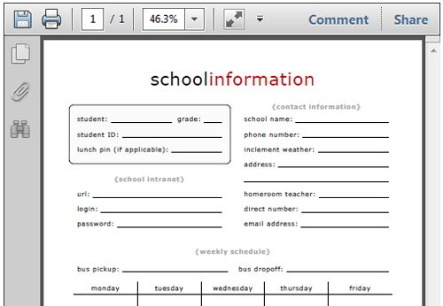 1000 images about school forms – Free Printable School Forms