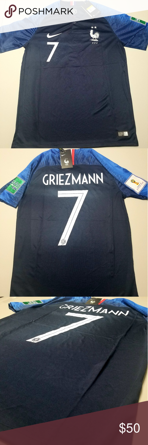 b61dbc32205 New 2 Stars France World Cup Jersey Griezmann New Champions New Star 2  Stars Jersey Griezmann 2018 Winners Jersey Nike Shirts Tees - Short Sleeve