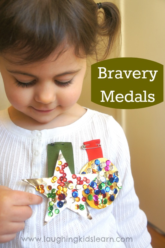 Bravery medal craft for kids - Laughing Kids Learn