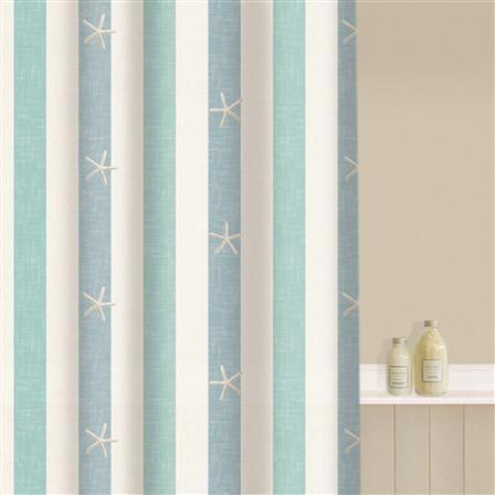 Aqualona Coastal Stripe Shower Curtain Beach Shower Curtains