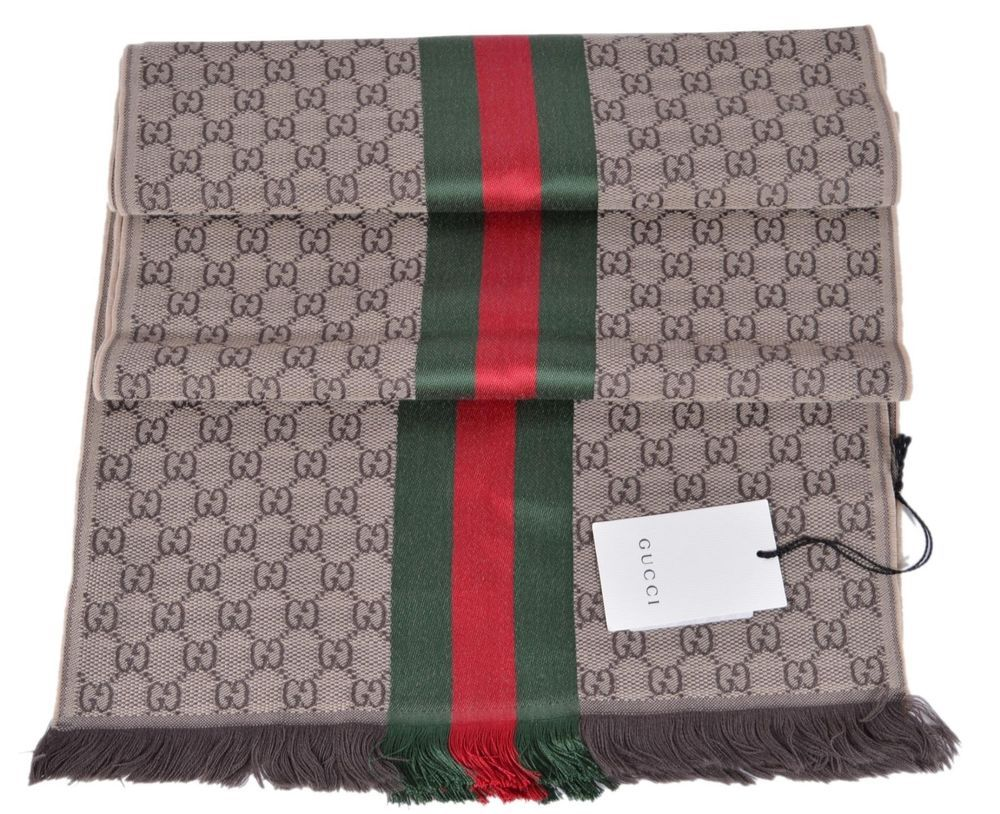 b396a7ee2d5 New Gucci Wool Silk Jacquard GG Guccissima Red Green Web Knitted Scarf  Muffler  Gucci  Scarf