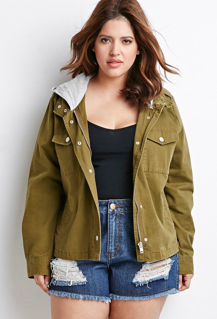 375677cbfe0 Plus Size Hooded Utility Jacket