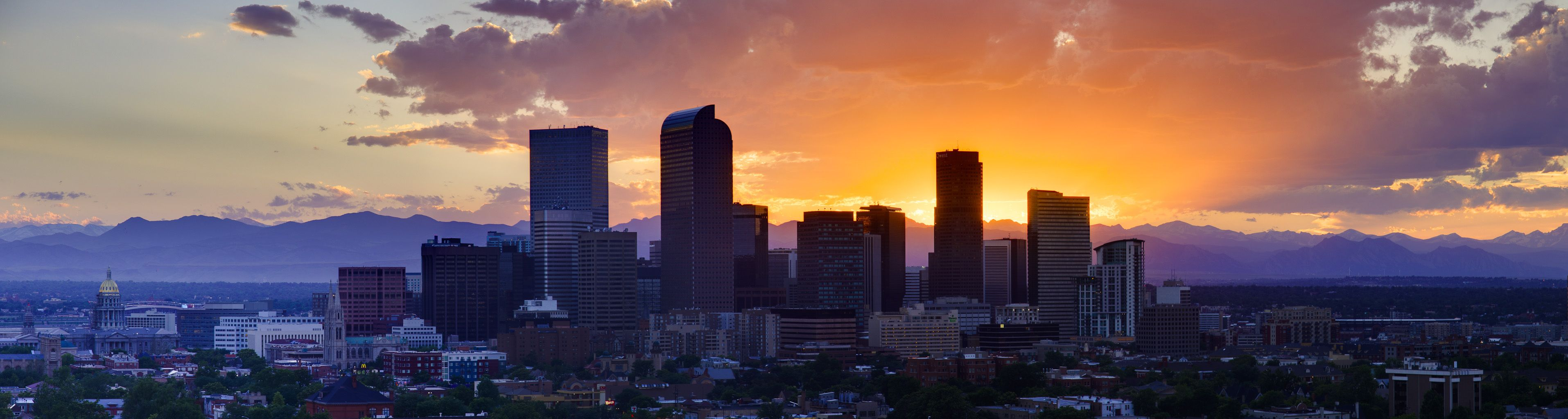 denver cityscape wallpaper denver skyline sunset