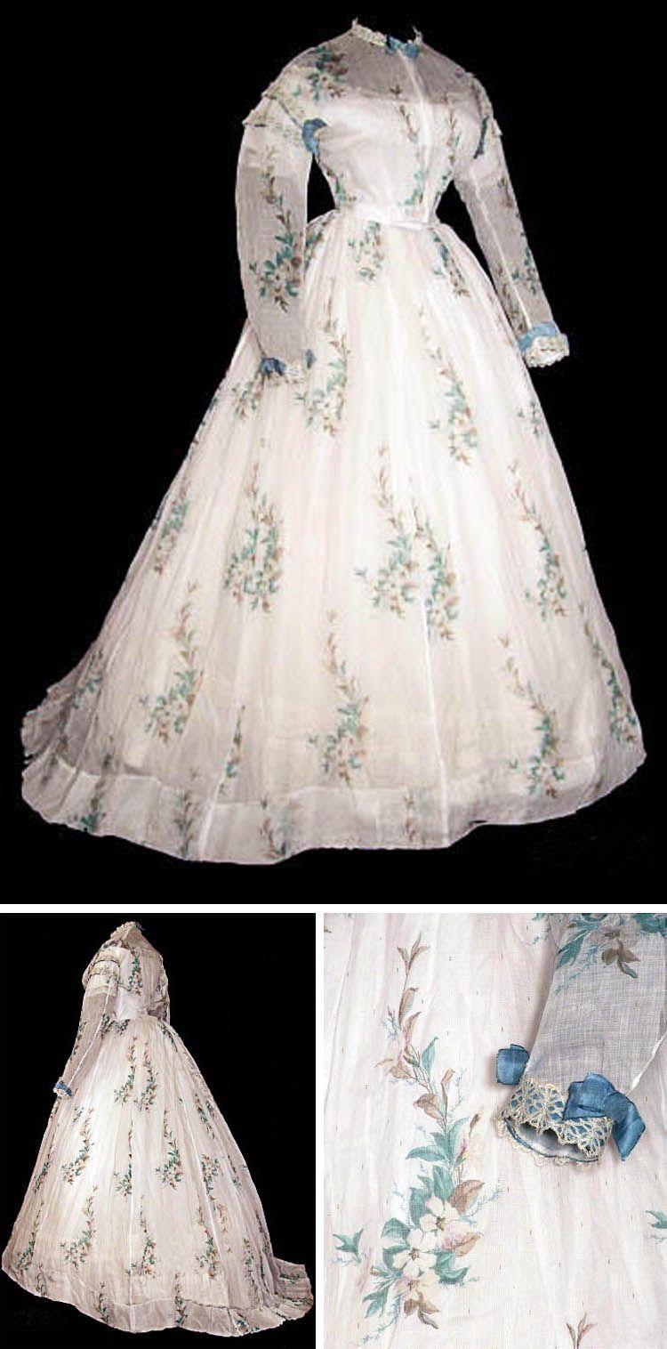 Organza dress ca. 1865. Bodice has muslin foundation trimmed in ...