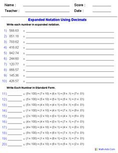 expanded notation using decimals place value worksheets  th grade  expanded notation using decimals place value worksheets