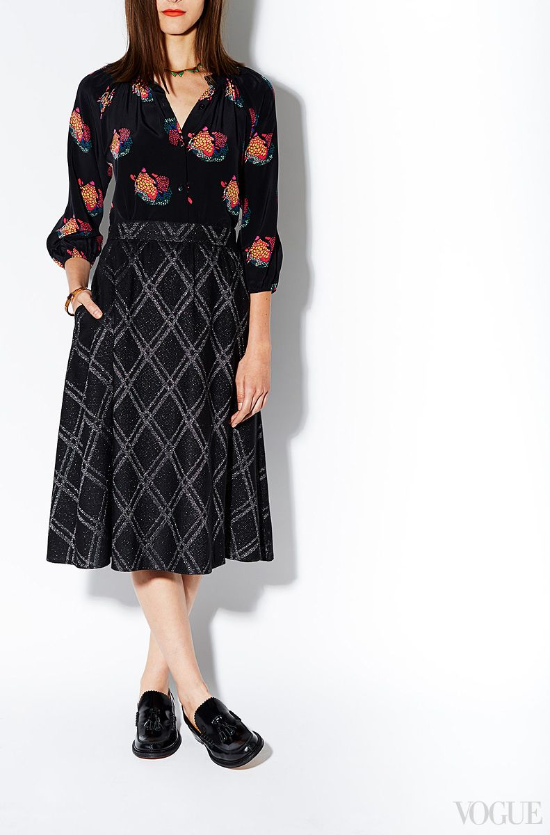 Fall's nod to Hollywood glamour starts now. Pair this elegant skirt/blouse with camel and you're Faye Dunaway; with tweed, Katharine Hepburn. Tucker Santa Fe Armadillo top, $328 Bliss, Salem, Virginia, 540.354.1309 Tucker Night Time Tracks circle skirt, $498 For information: tuckerbygabybasora.com