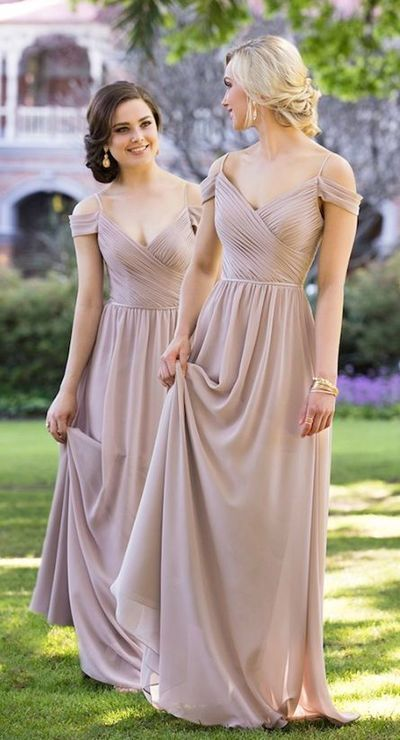 Custom Made Chiffon Bridesmaid Dress,Spaghetti Straps Bridesmaid Dress,Off the Shoulder Dress