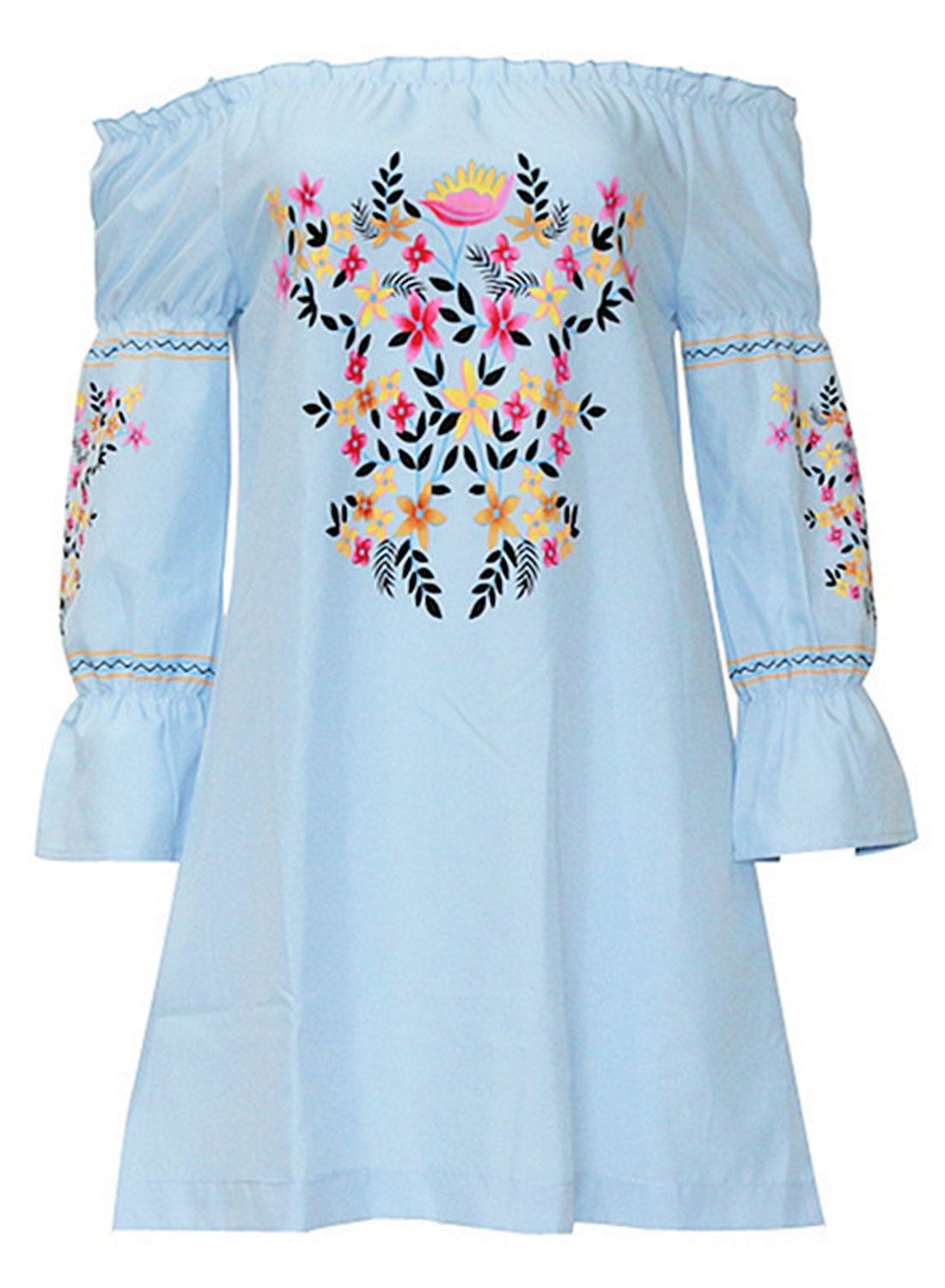 0eaa7dd96efa Women s Casual off Shoulder Floral Embroidery Loose Mini Dress - NOVASHE.com