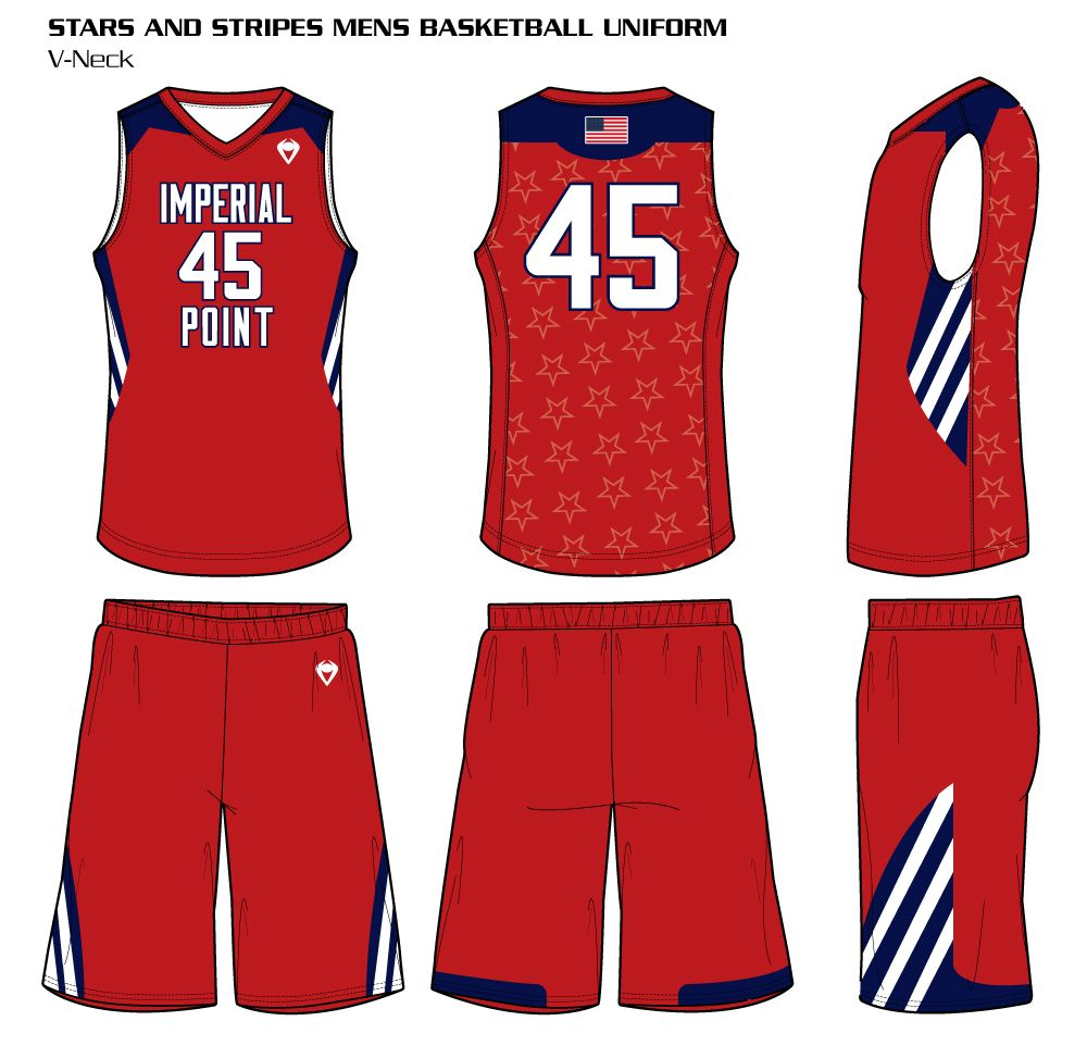Stars And Stripes Men S Sublimated Basketball Uniform Basketball Uniforms Custom Basketball Uniforms Volleyball Uniforms