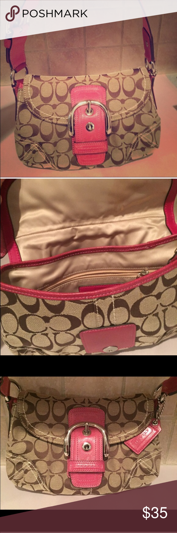 small pink tan coach purse this is a re posh it was not quite