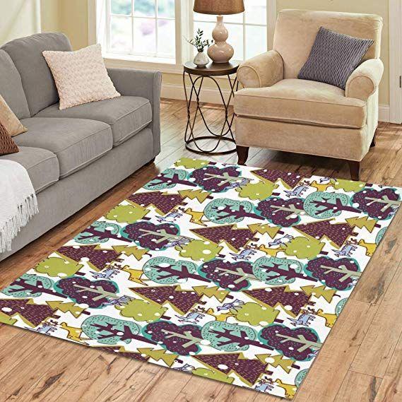 Design Area Rug Winter Trees Carpet For Living Room Dining Room