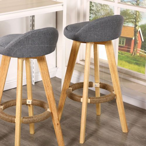 2 X Wooden Bar Stools Swivel Padded Leather  Fabric Seat Dining Cool Leather Swivel Dining Room Chairs Design Decoration