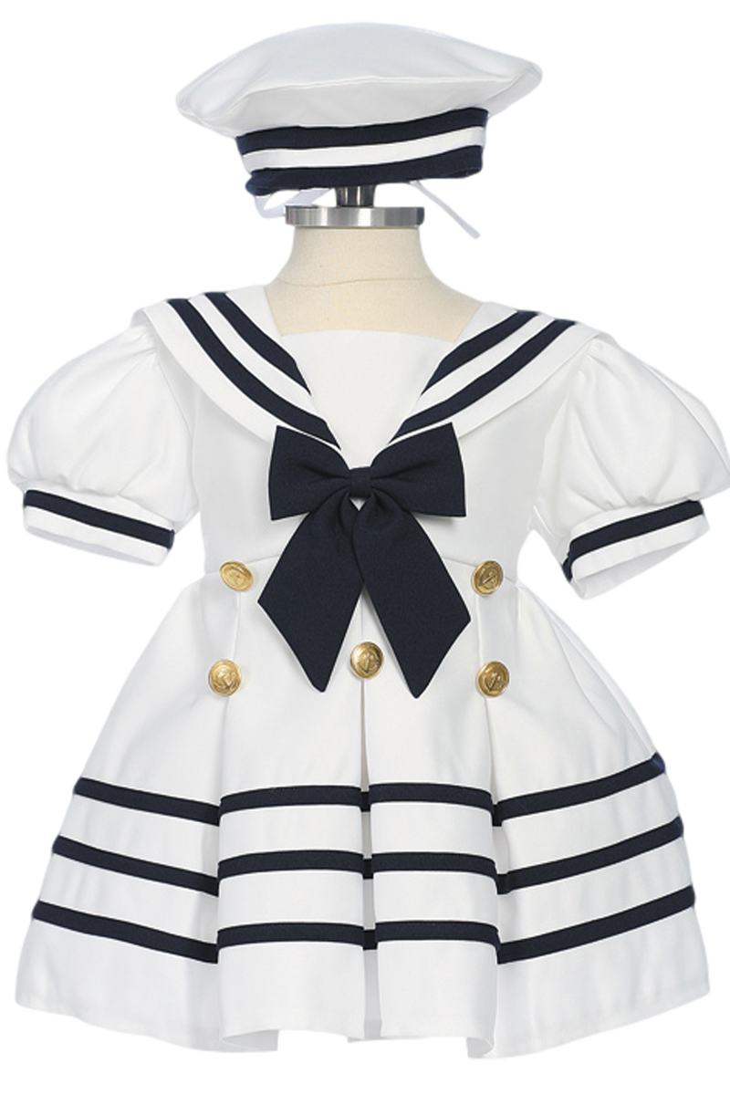 151ecade8f112 White Classic Nautical Sailor Dress with Navy Blue Trim & Beret Style Hat ( Baby or Toddler Girls)