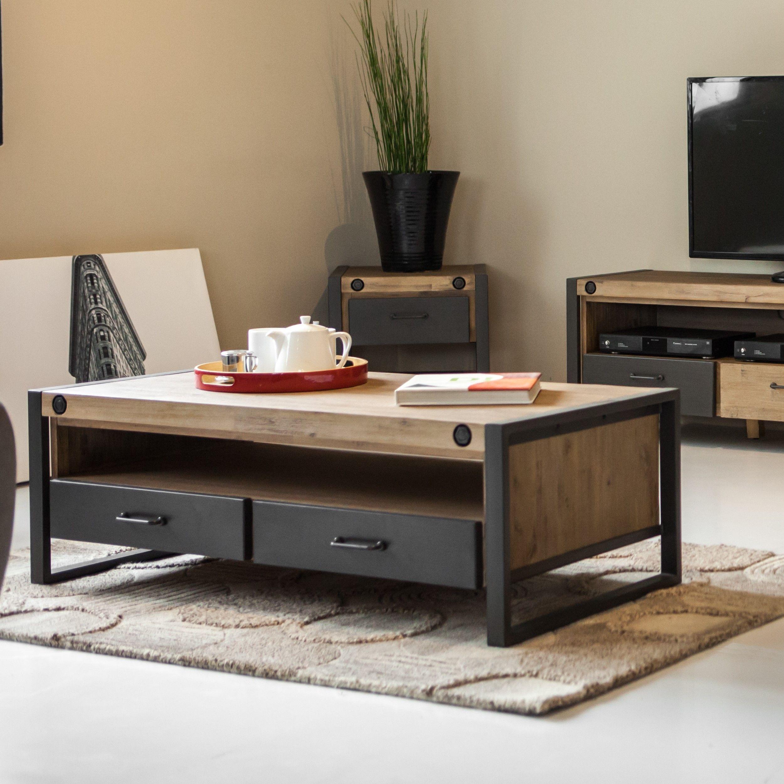 table basse industrielle bois metal