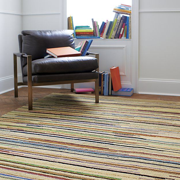 Savoy Cream Striped Hand Knotted Wool Rug Pencil Thin Stripes Go To All Lengths Fashion A Rhythmic Array Of Neutrals And Rainbow S Worth Hues