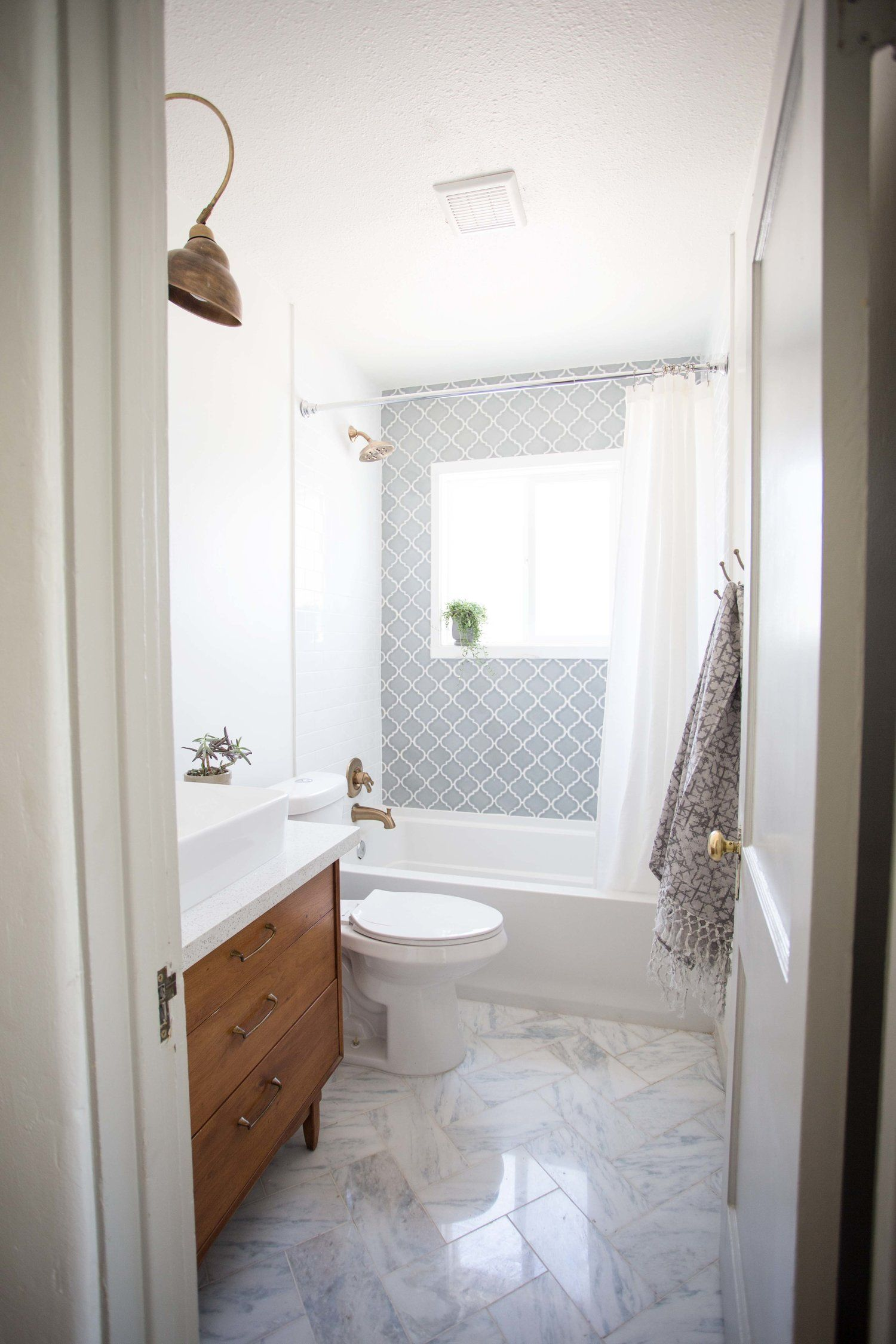 Before After Eclectic Spanish Modern Bathroom Flippinwendy Design Spanish Style Bathrooms Modern Bathroom Spanish Style Homes