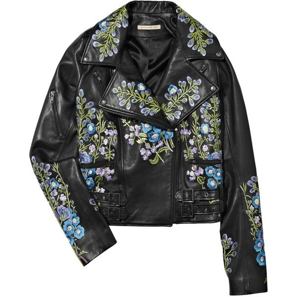 Christopher Kane Flower-Embroidered Leather Biker Jacket ❤ liked on  Polyvore featuring outerwear, jackets