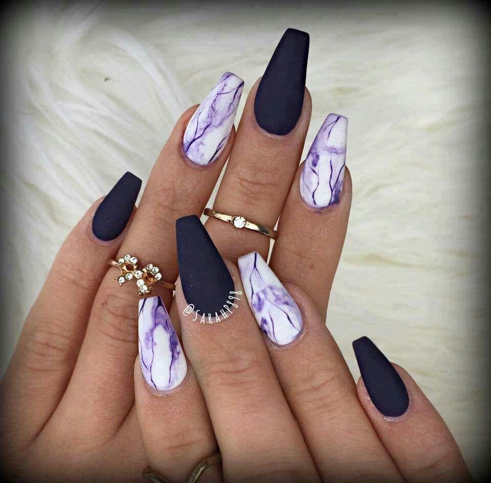Matte Black Purple Marble Mani Matte Purple Nails Best Acrylic Nails Cute Acrylic Nails