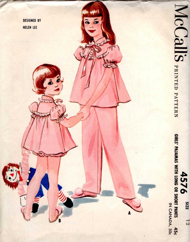 vintage 1958 girls PAJAMAS helen lee design mccalls sewing pattern ...