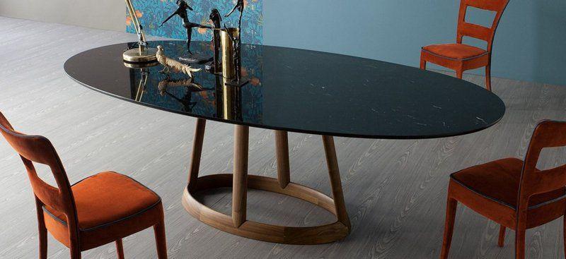 218604a8f4af99 table salle à manger à plateau ovale en marbre design par Bonaldo- Greeny