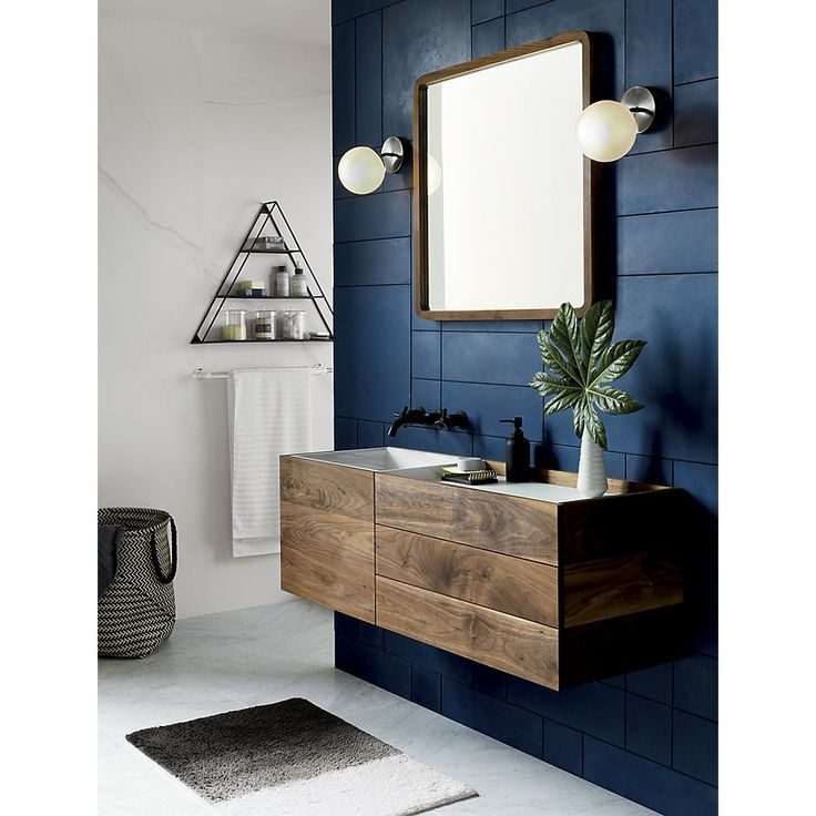 gorgeous accent wall in navy bathroomideas  masculine