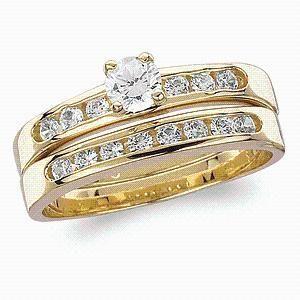 Classic 145ct Created Diamond CZ 2Piece Wedding Ring Set Size 10