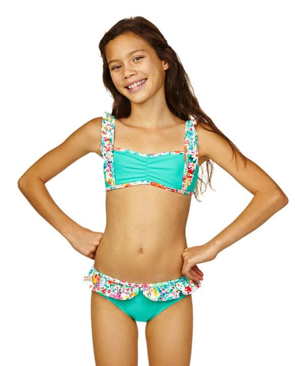 c9a63bcbee4 Look at this Aqua Bloom Bikini - Girls on #zulily today!   for kids ...