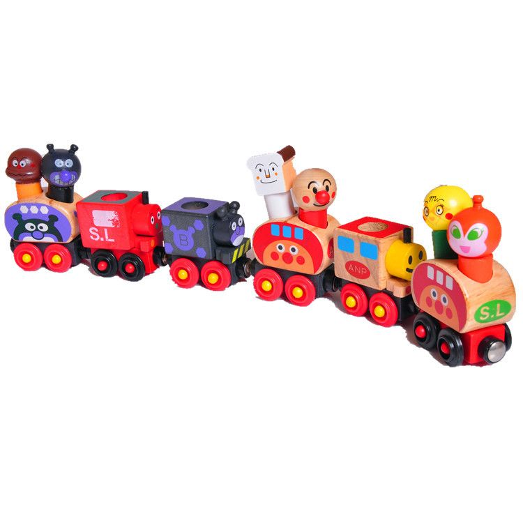 Wooden toy gift Anpanman magnetic van carrying people wood train game 6pcs//set