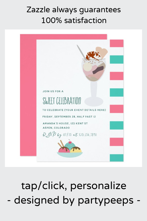 Ice Cream Birthday Party invitation | Zazzle.com #icecreambirthdayparty