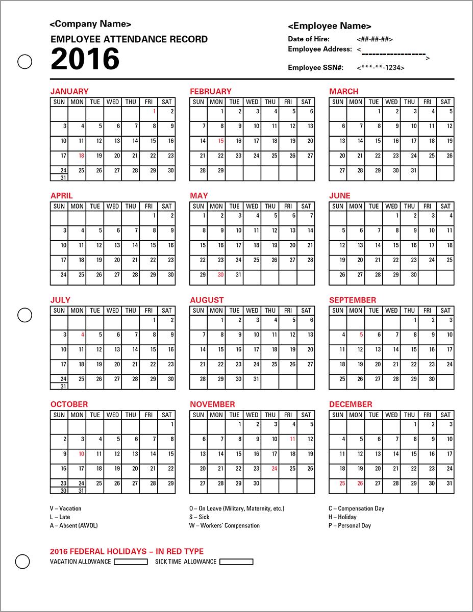 Employee Attendance Calendar 2016, Tracker Templates 2016