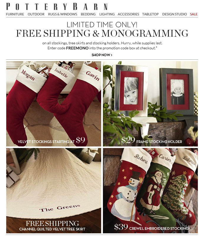 22.10.11 - Emailer - Free shipping and Monogramming (With ...