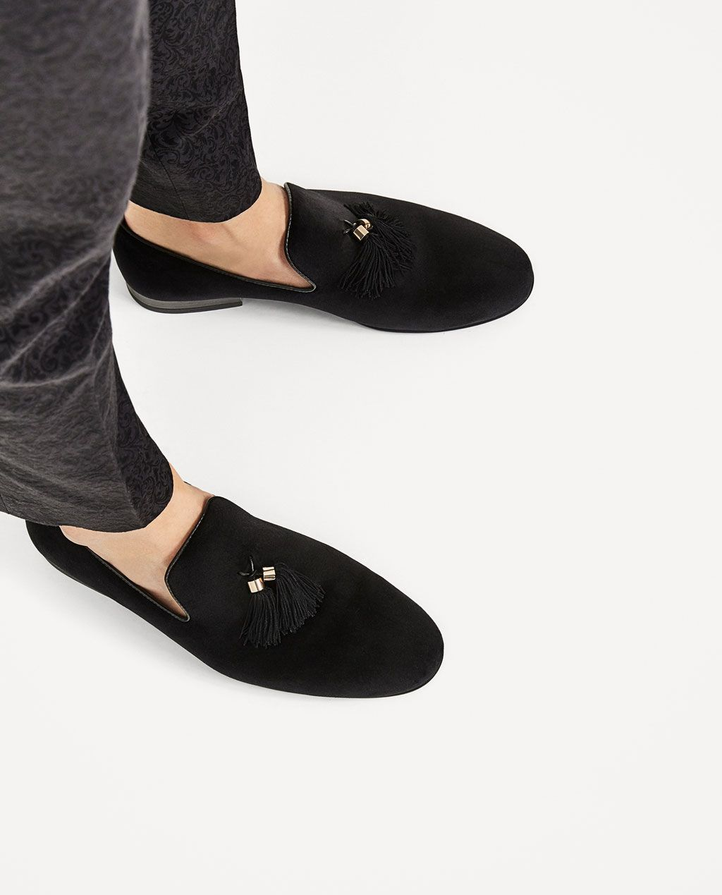 43a8923b14b BLACK VELVET LOAFERS WITH TASSELS-SHOES-MAN