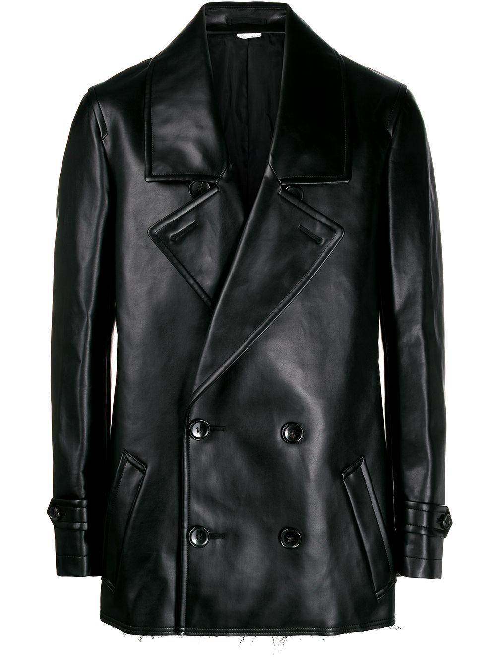 Comme Des Garcons Homme Plus Double Breasted Faux Leather Coat Farfetch Faux Leather Coat Leather Coat Celebrities Leather Jacket [ 1334 x 1000 Pixel ]