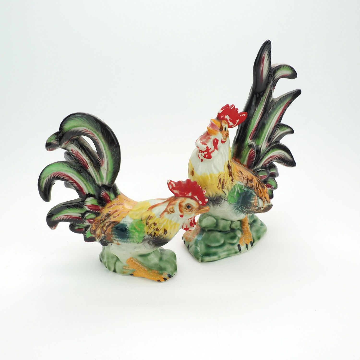 Ceramic Rooster and Hen, Hand Painted Chickens with Colorful Tails ...