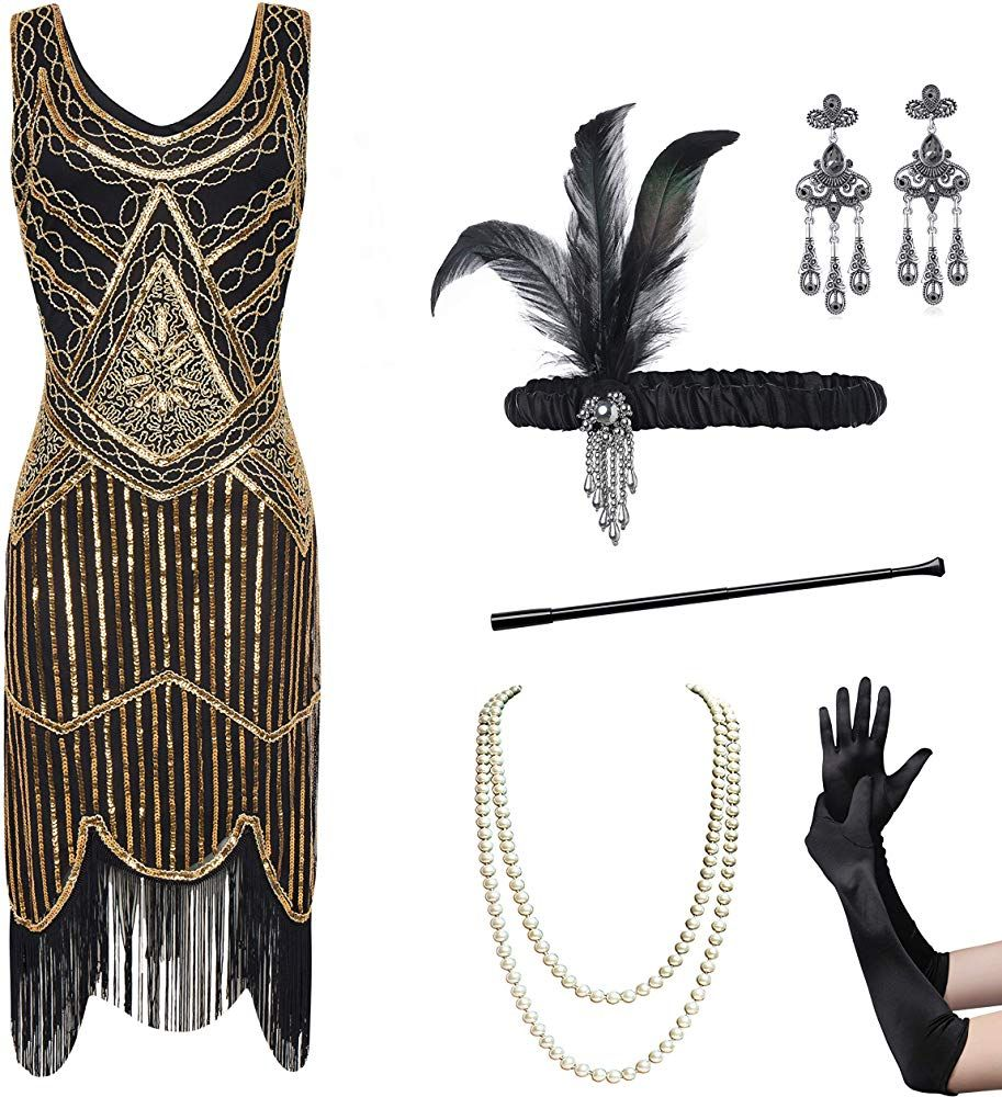 Coucoland Womens 1920s Flapper Sequin Beads Dress With Roaring 20s Gatsby Accessories Set For Party Gol 1920s Cocktail Dresses Beaded Dress Gatsby Accessories