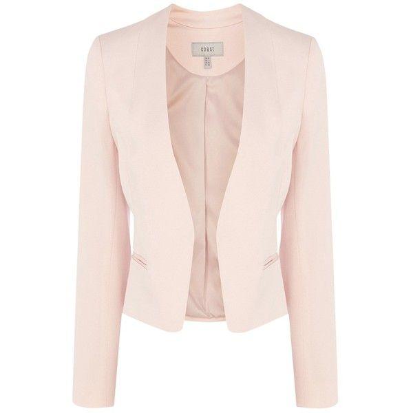 Coast Calia Jacket , Blush ($130) ❤ liked on Polyvore featuring outerwear, jackets, blush, open front jacket, long sleeve jacket, pink jacket and short jacket