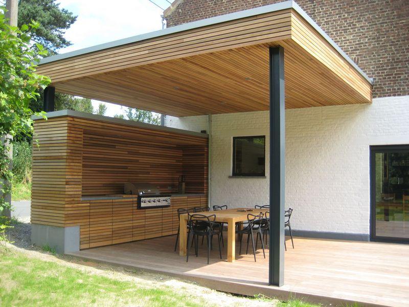 Terrasse Couverte A Vieux Genappe Barres De Cuisine En Plein Air