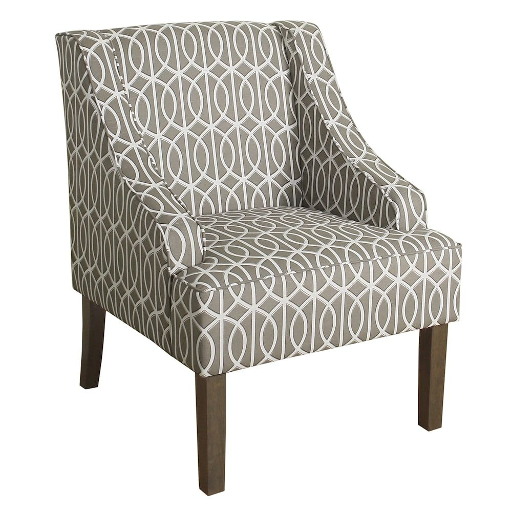 Homepop Swoop Arm Accent Chair Brown Accent Chairs