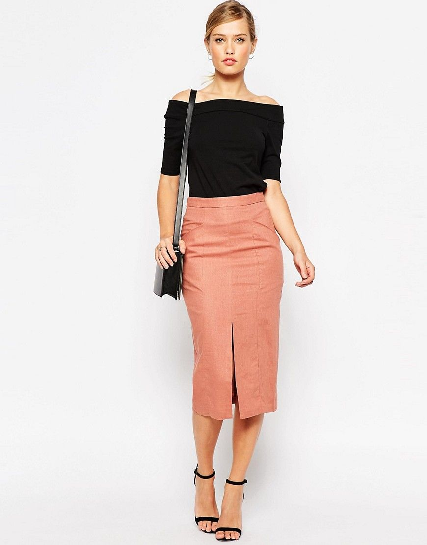 Style with a coral pencil skirt.. | Skirt fashion.. | Pinterest